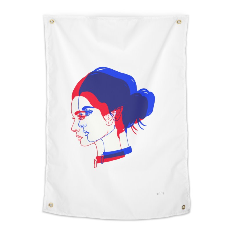 red and blue bun babe Home Tapestry by EarthtoMonica