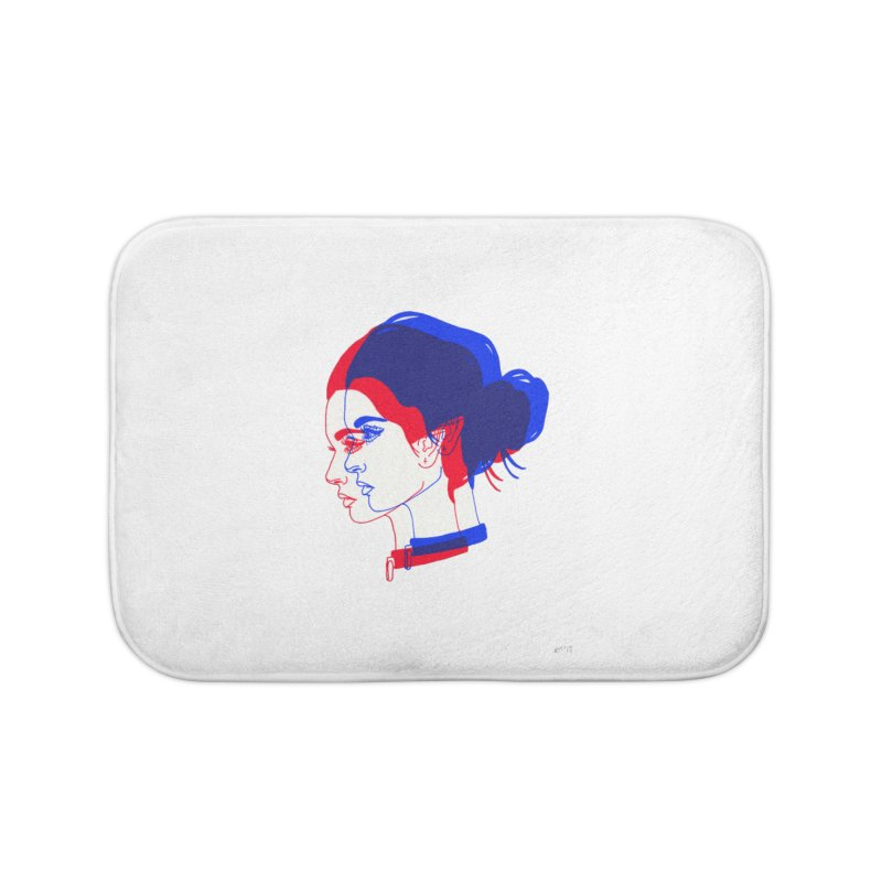 red and blue bun babe Home Bath Mat by EarthtoMonica