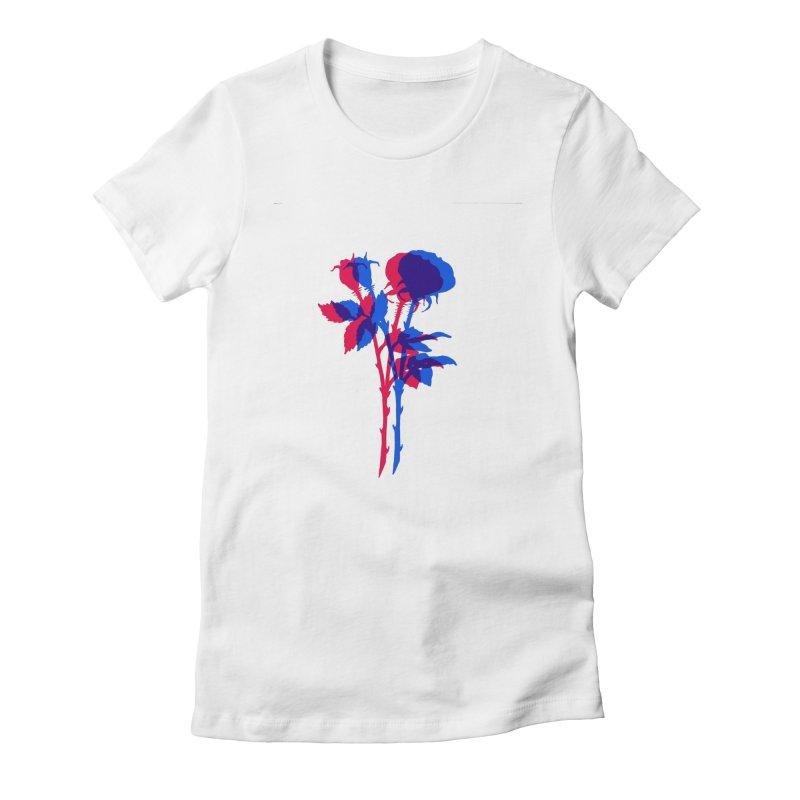 double rose Women's Fitted T-Shirt by Earthtomonica's Artist Shop
