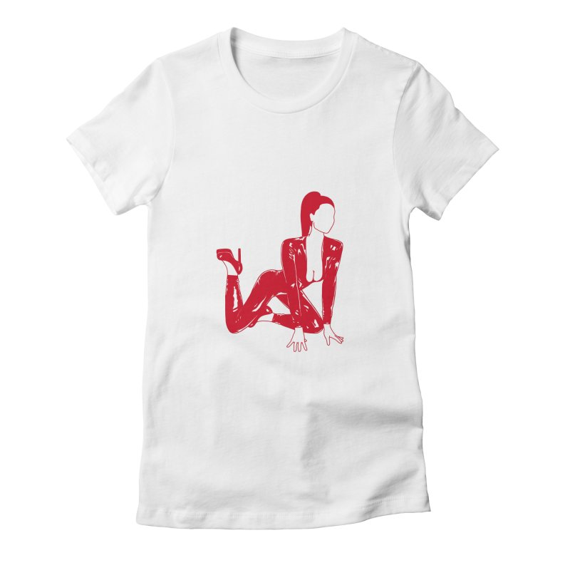 red latex babe Women's Fitted T-Shirt by Earthtomonica's Artist Shop