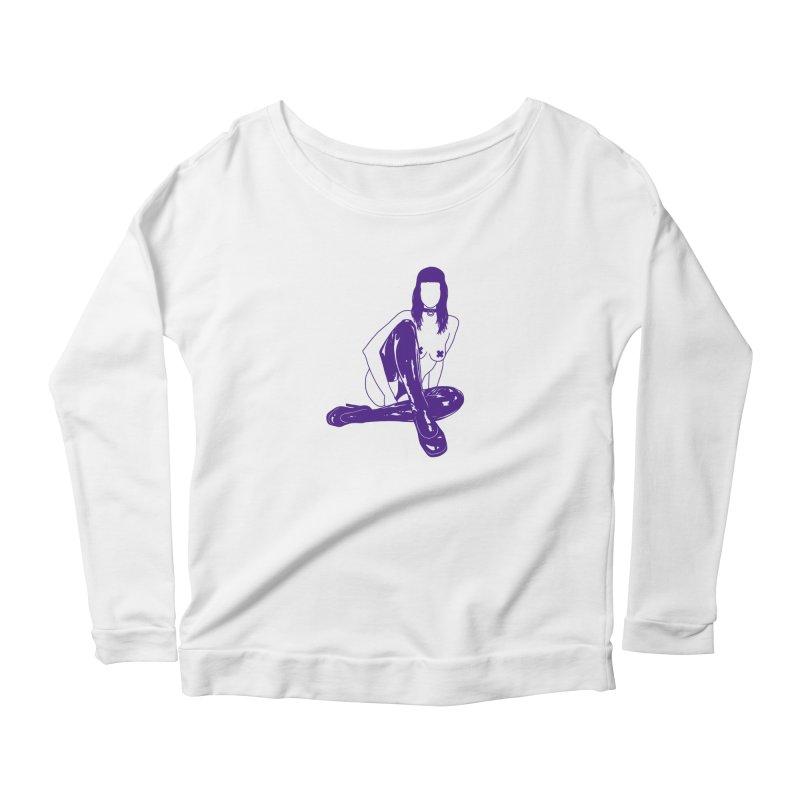 purple latex babe Women's Longsleeve Scoopneck  by Earthtomonica's Artist Shop