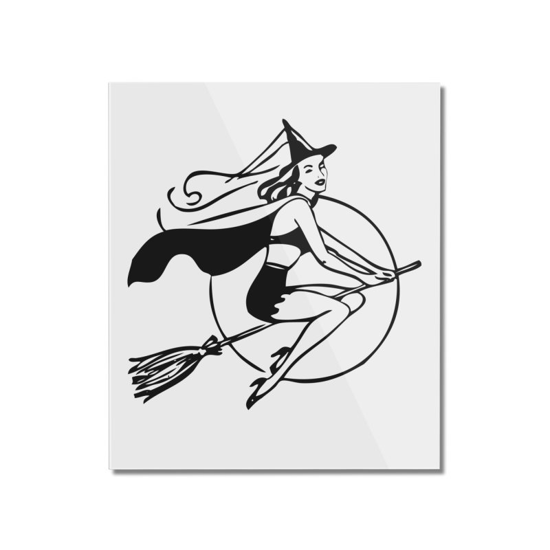 Witch on Broomstick | Retro Witch | Vintage Witch | Pretty Witch | Witches | Halloween | Home Mounted Acrylic Print by Eclectic At Heart
