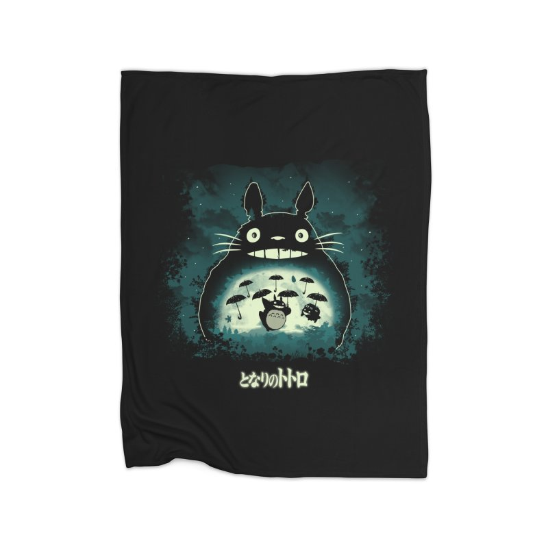 Totoro And His Umbrellas Home Fleece Blanket Blanket by Arashi-Yuka