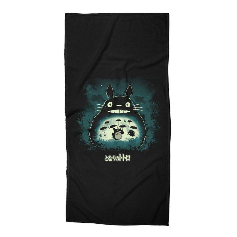 Totoro And His Umbrellas Accessories Beach Towel by Arashi-Yuka