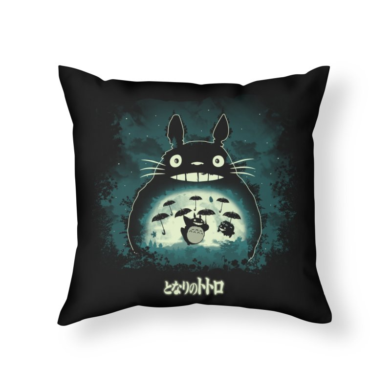 Totoro And His Umbrellas Home Throw Pillow by Arashi-Yuka