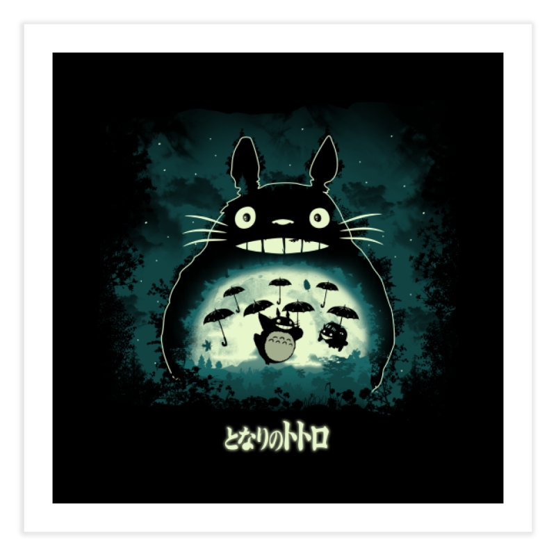 Totoro And His Umbrellas Home Fine Art Print by Arashi-Yuka