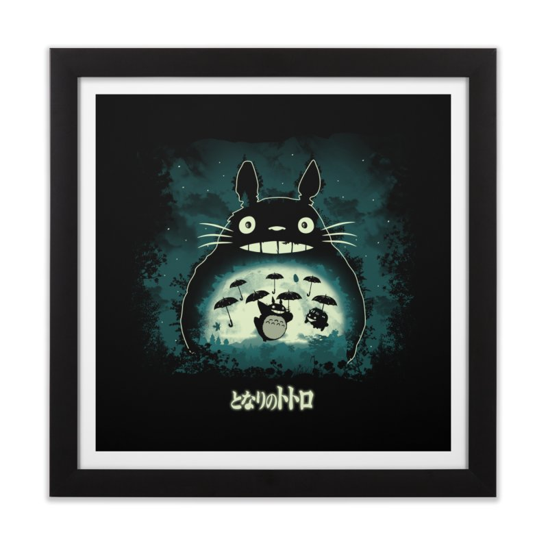 Totoro And His Umbrellas Home Framed Fine Art Print by Arashi-Yuka