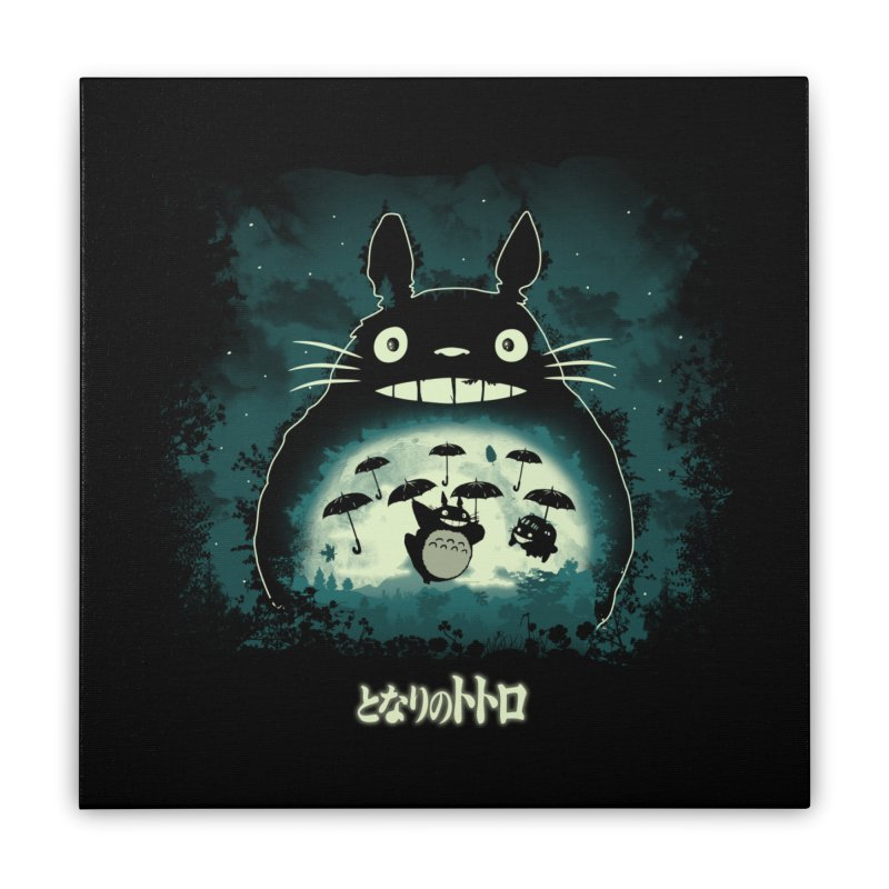 Totoro And His Umbrellas Home Stretched Canvas by Arashi-Yuka