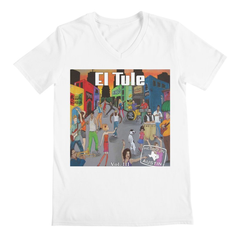"""El Tule """"Hecho In Austin Vol III"""" Album Cover Men's Regular V-Neck by El Tule Store"""