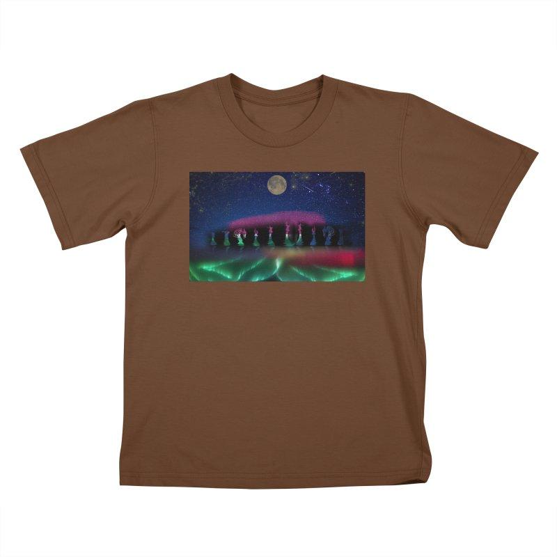 Dancing Aurora Kids T-shirt by Ellarte Artist Shop