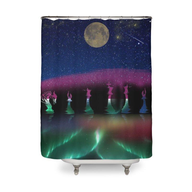 Dancing Aurora Home Shower Curtain by Ellarte Artist Shop