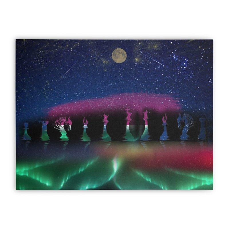 Dancing Aurora Home Stretched Canvas by Ellarte Artist Shop