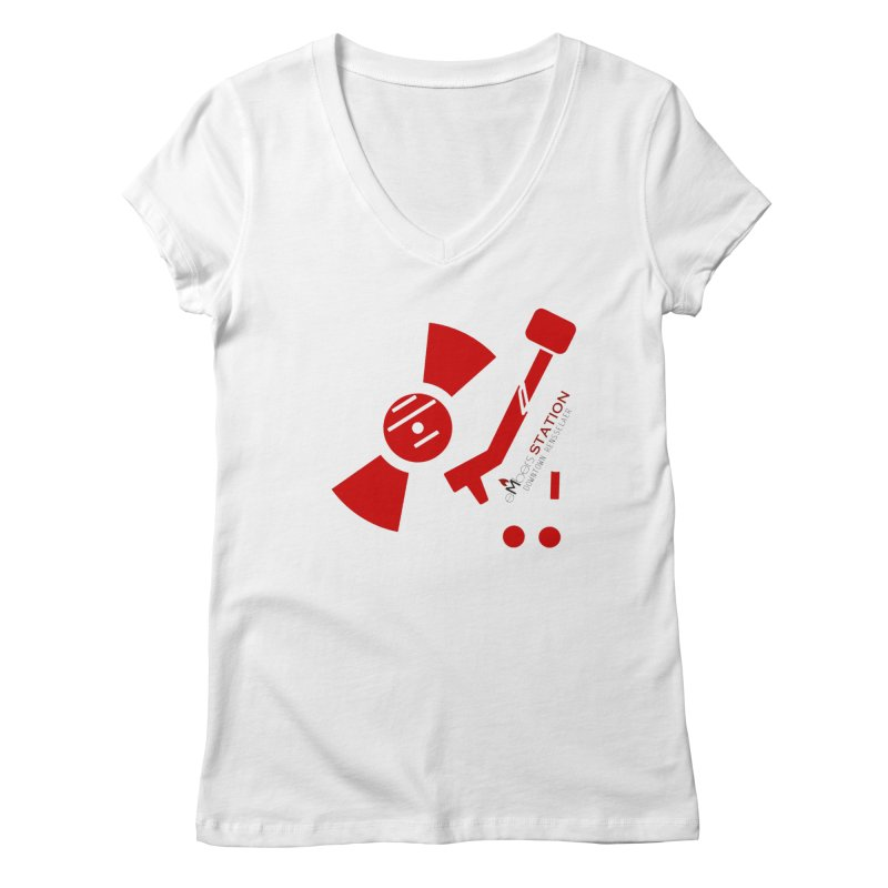 Vinyl T Women's Regular V-Neck by eMbers Station Swag Shop
