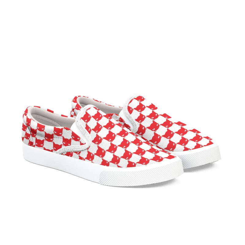 #KITTYCHEX RED/WHITE in Men's Slip-On Shoes by Emily the Strange OFFICIAL