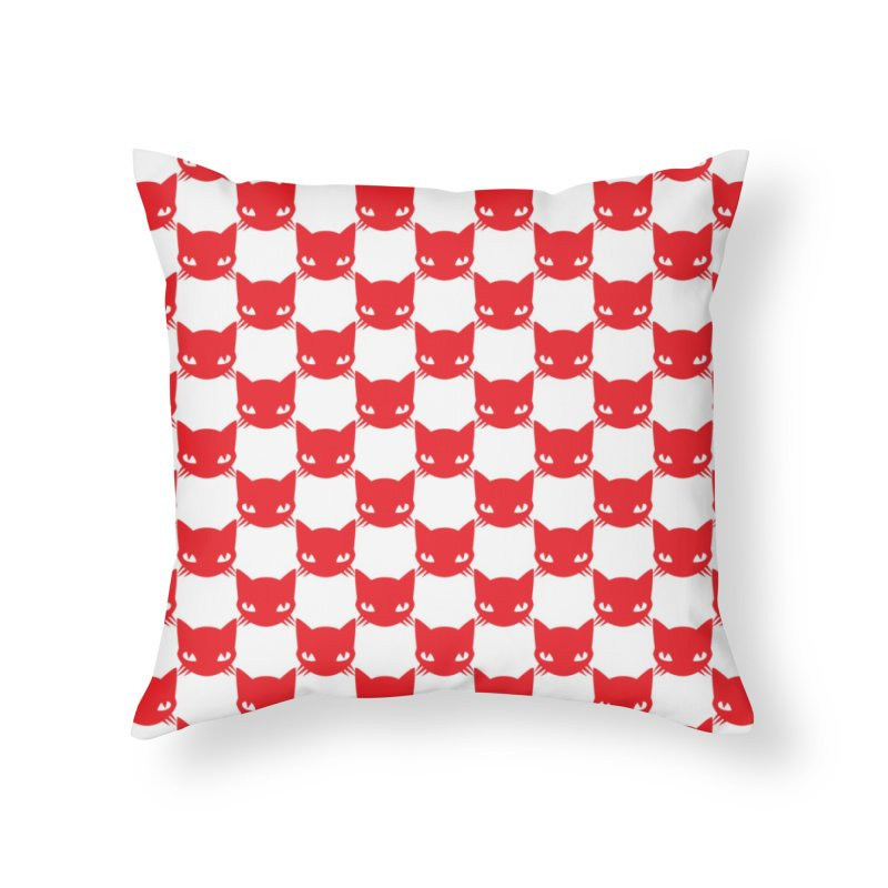 #KITTYCHEX RED/WHITE Home Throw Pillow by Emily the Strange OFFICIAL
