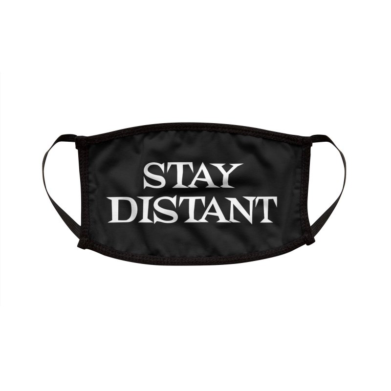 Stay Distant (Black) Accessories Face Mask by Emily the Strange Official