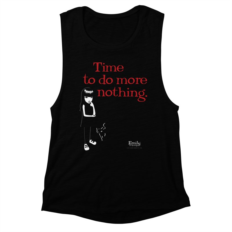 Time To Do More Nothing (Black) Women's Tank by Emily the Strange Official