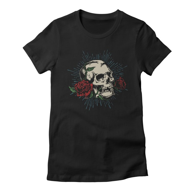 Roses of Death Women's Fitted T-Shirt by EngineHouse13's Artist Shop