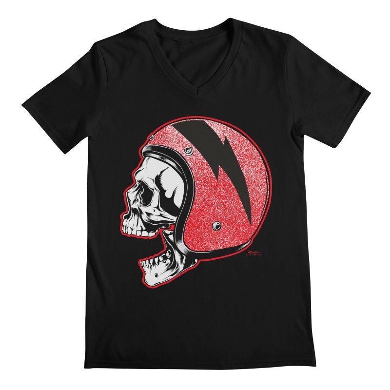 Helmet Skull Men's V-Neck by EngineHouse13's Artist Shop