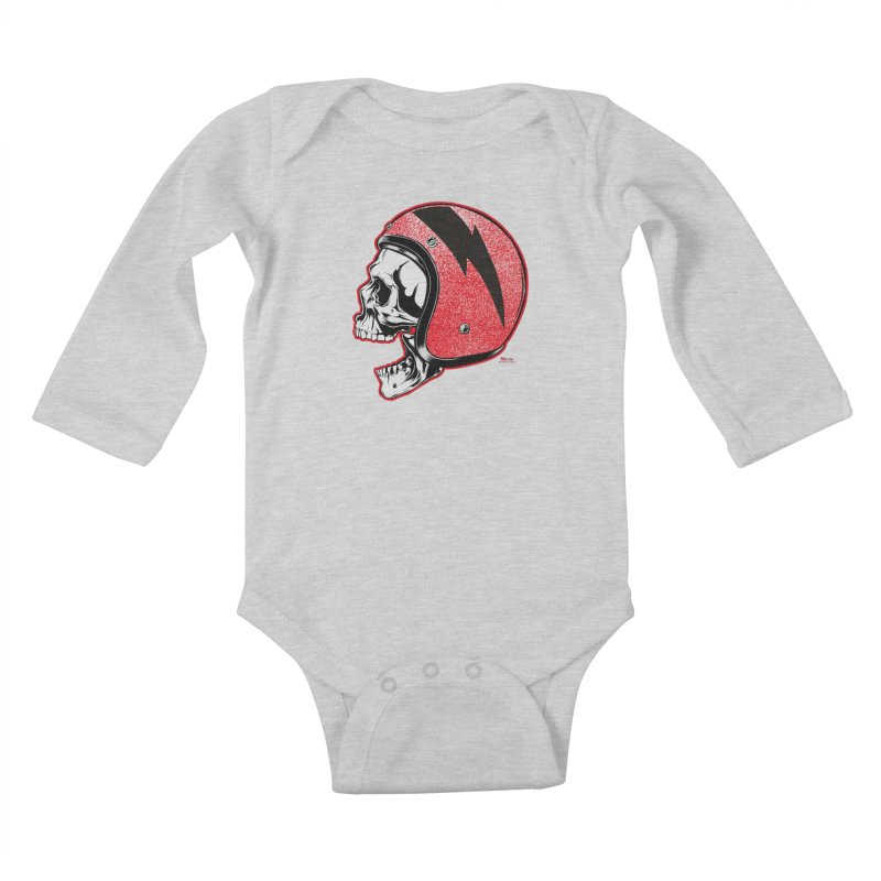 Helmet Skull Kids Baby Longsleeve Bodysuit by EngineHouse13's Artist Shop