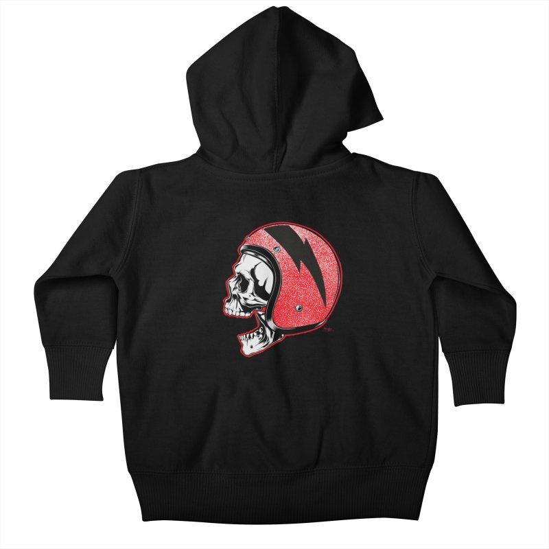 Helmet Skull Kids Baby Zip-Up Hoody by EngineHouse13's Artist Shop