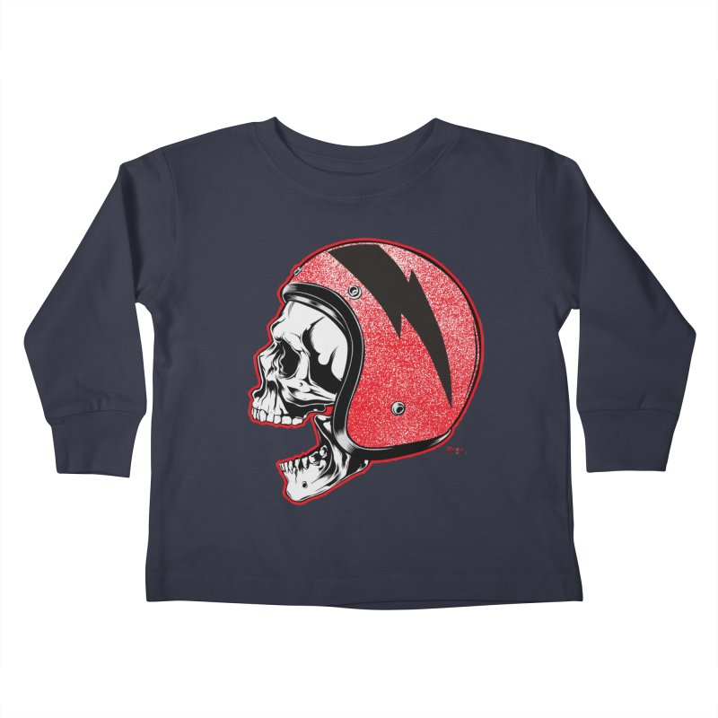 Helmet Skull Kids Toddler Longsleeve T-Shirt by EngineHouse13's Artist Shop