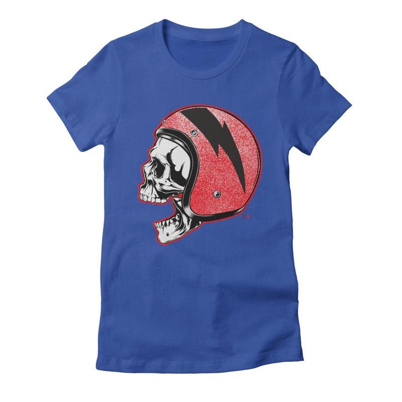 Helmet Skull Women's Fitted T-Shirt by EngineHouse13's Artist Shop