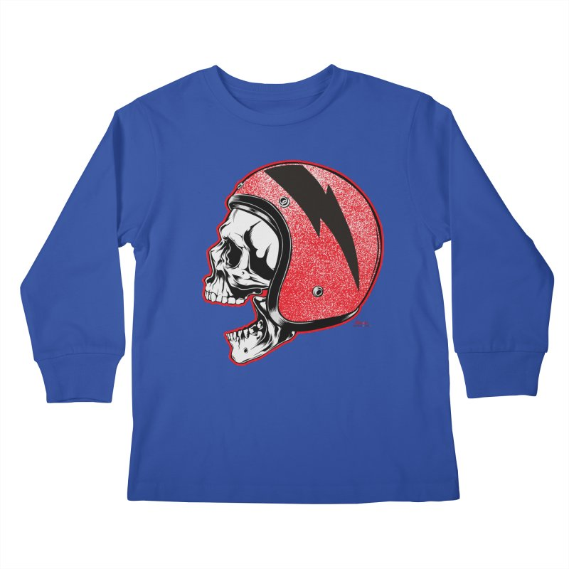 Helmet Skull Kids Longsleeve T-Shirt by EngineHouse13's Artist Shop