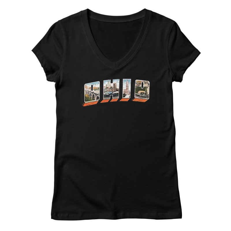 Greetings From Ohio Women's V-Neck by EngineHouse13's Artist Shop