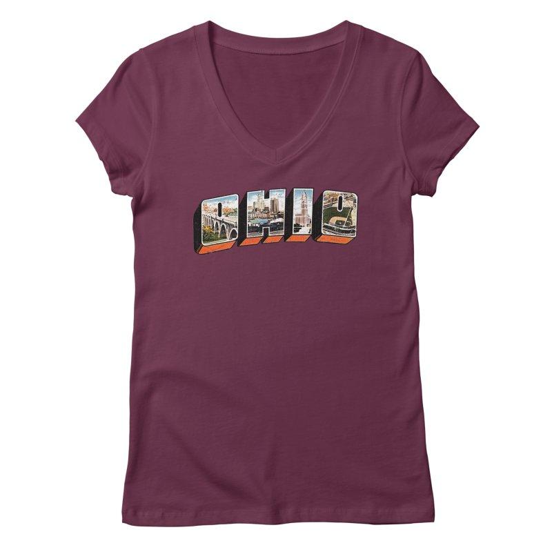 Greetings From Ohio Women's Regular V-Neck by EngineHouse13's Artist Shop