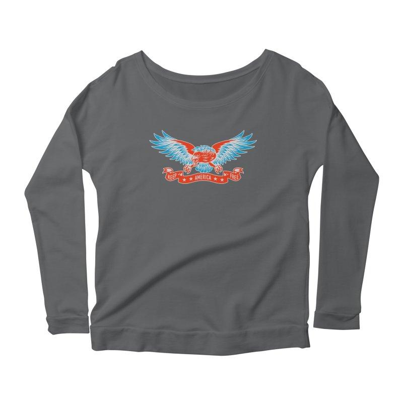 Keep America Free Women's Longsleeve Scoopneck  by EngineHouse13's Artist Shop