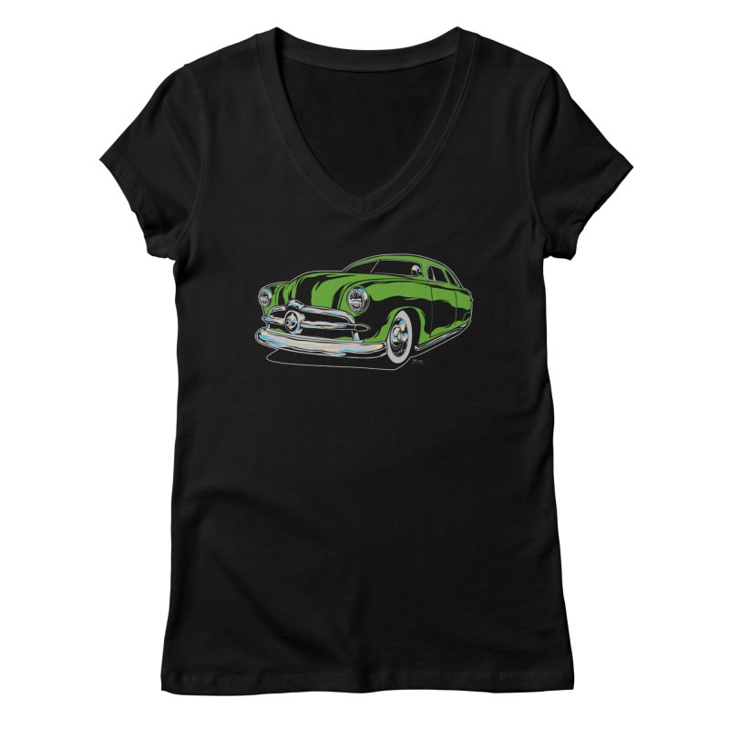 1950 Shoebox Kustom Women's V-Neck by EngineHouse13's Artist Shop