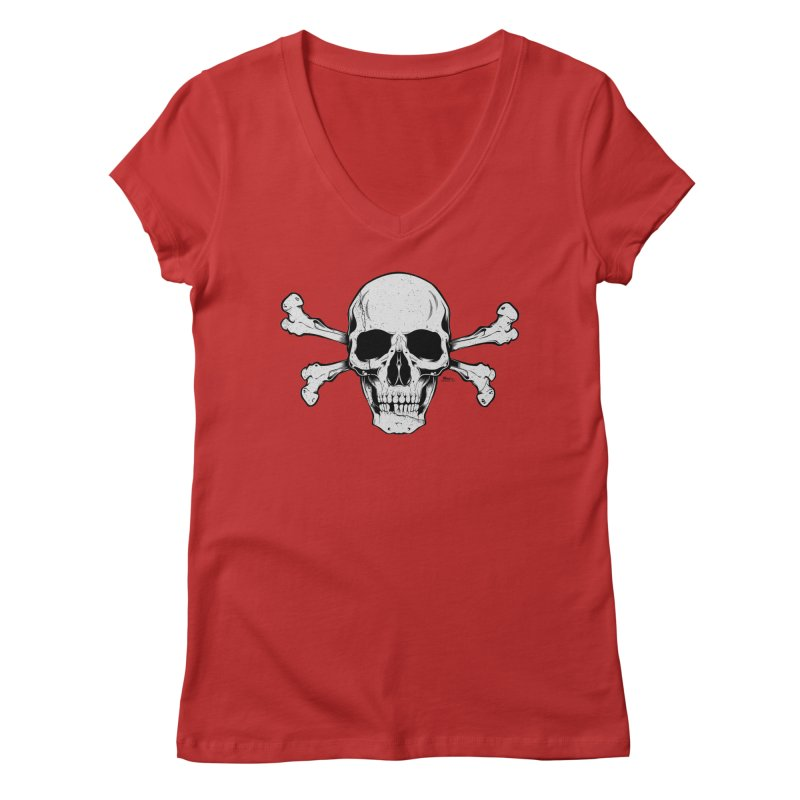 Crossbones Women's Regular V-Neck by EngineHouse13's Artist Shop