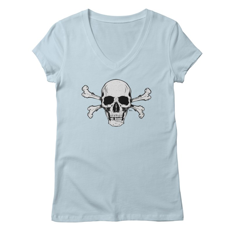 Crossbones Women's V-Neck by EngineHouse13's Artist Shop