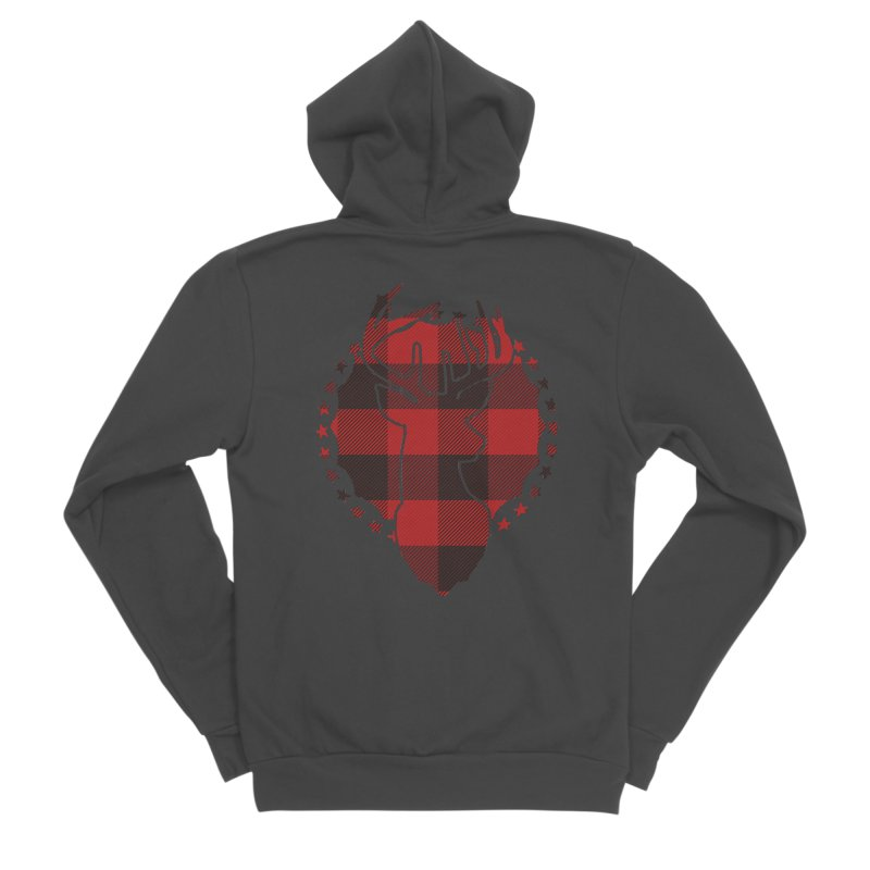 Plaid Deer Women's Sponge Fleece Zip-Up Hoody by EngineHouse13's Artist Shop