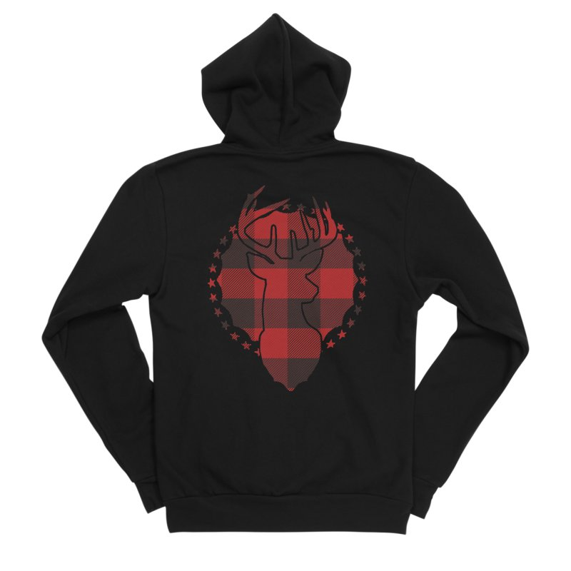 Plaid Deer Men's Sponge Fleece Zip-Up Hoody by EngineHouse13's Artist Shop