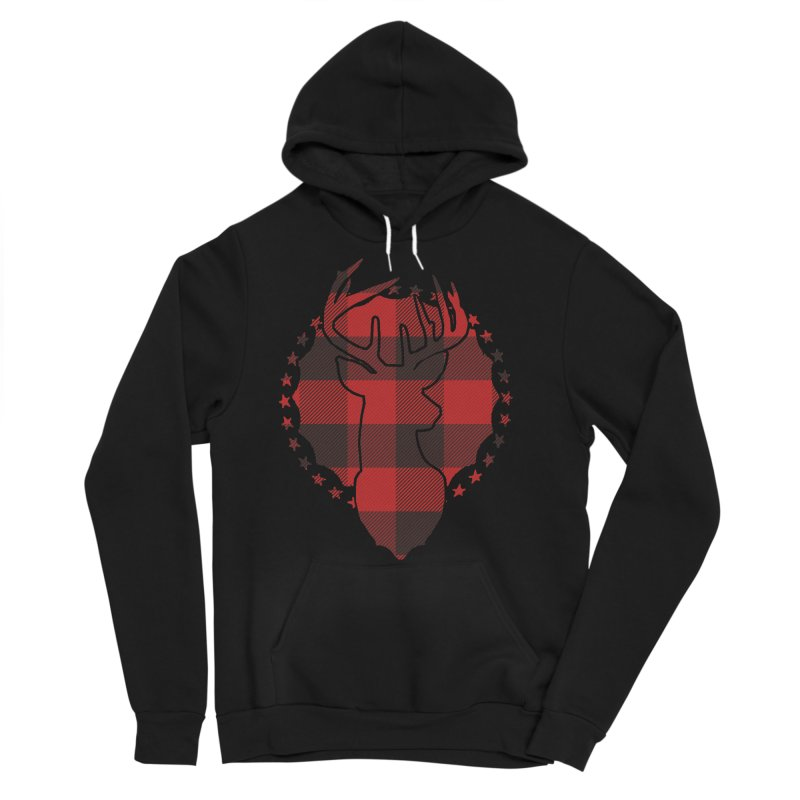 Plaid Deer Men's Sponge Fleece Pullover Hoody by EngineHouse13's Artist Shop