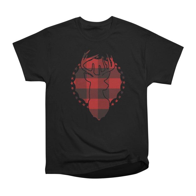 Plaid Deer Women's Heavyweight Unisex T-Shirt by EngineHouse13's Artist Shop
