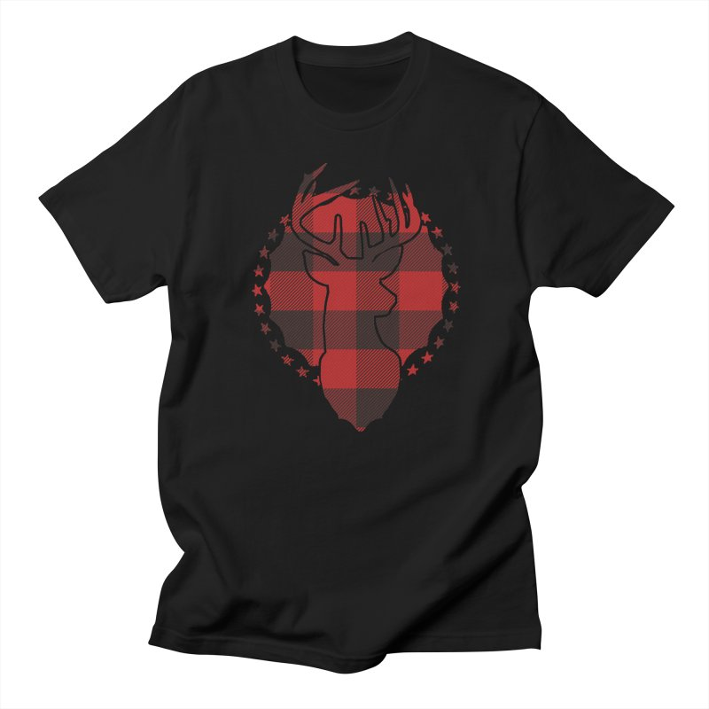 Plaid Deer Men's Regular T-Shirt by EngineHouse13's Artist Shop