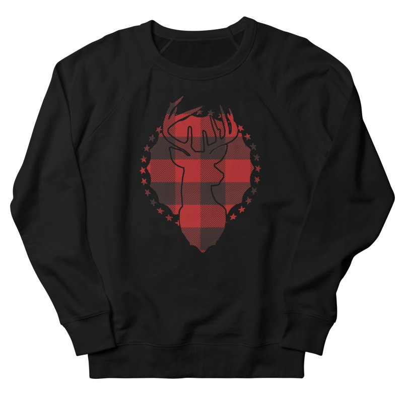 Plaid Deer Men's French Terry Sweatshirt by EngineHouse13's Artist Shop