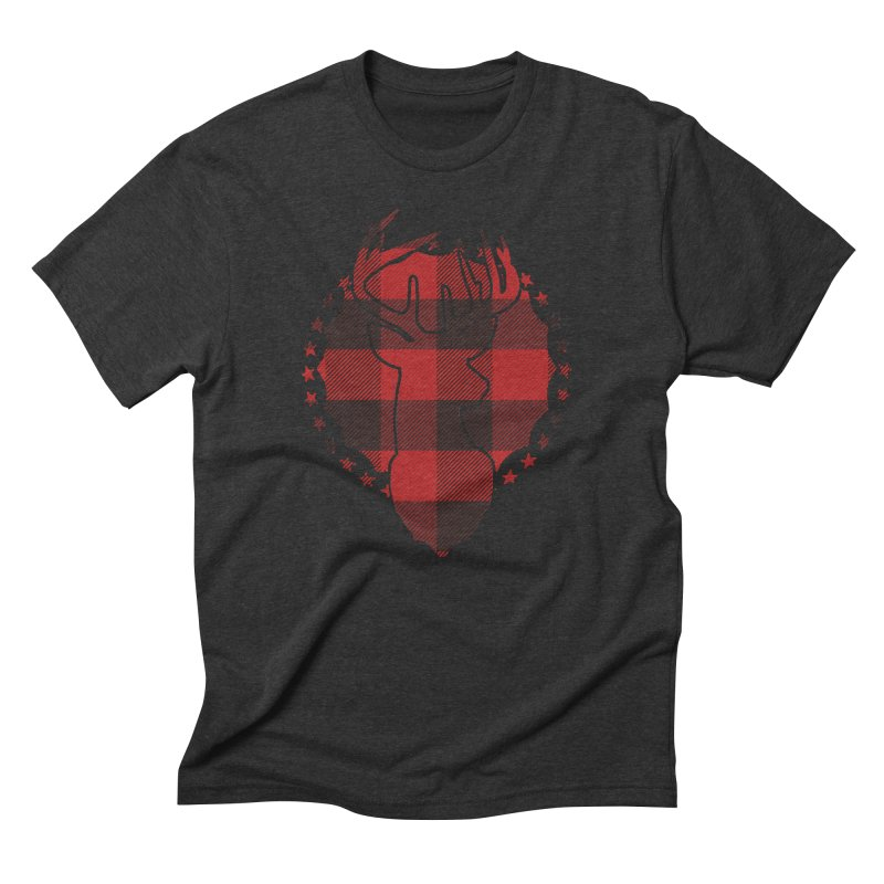 Plaid Deer Men's Triblend T-Shirt by EngineHouse13's Artist Shop