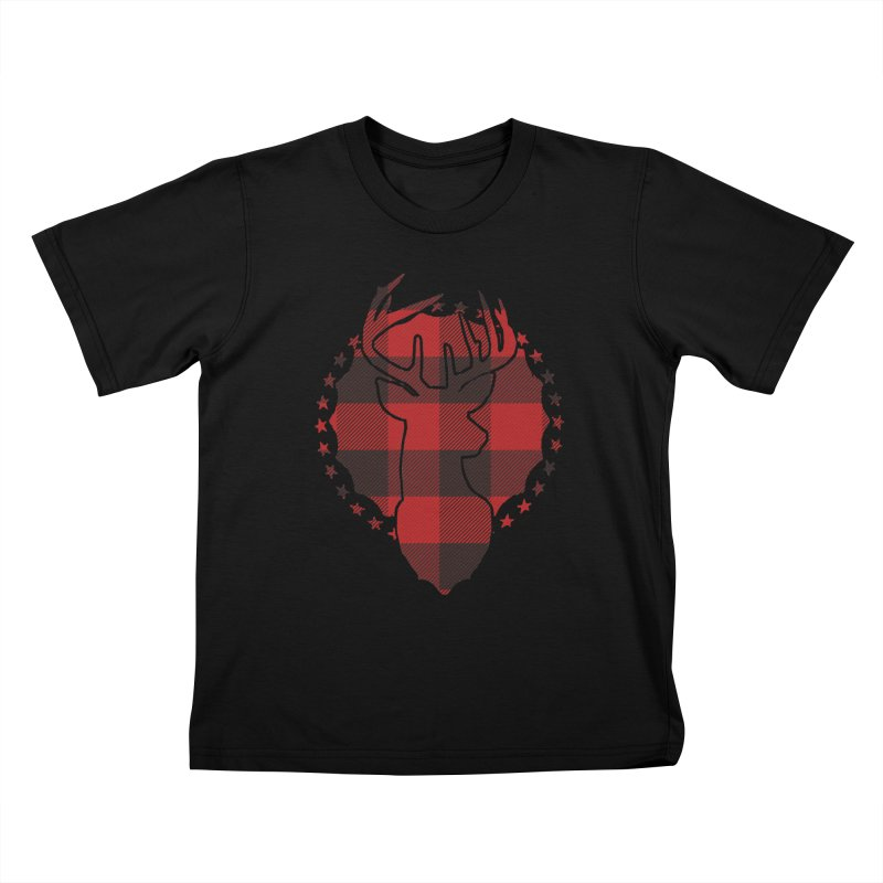 Plaid Deer Kids T-Shirt by EngineHouse13's Artist Shop