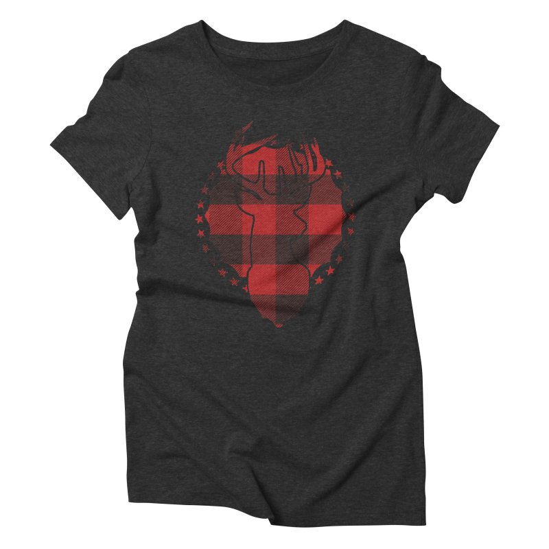 Plaid Deer Women's Triblend T-Shirt by EngineHouse13's Artist Shop