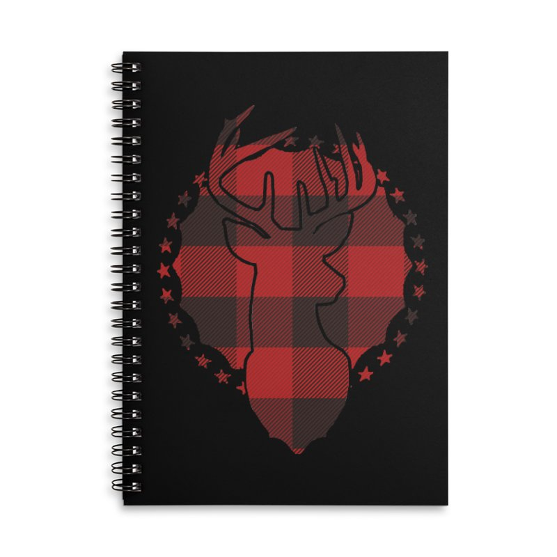 Plaid Deer Accessories Lined Spiral Notebook by EngineHouse13's Artist Shop