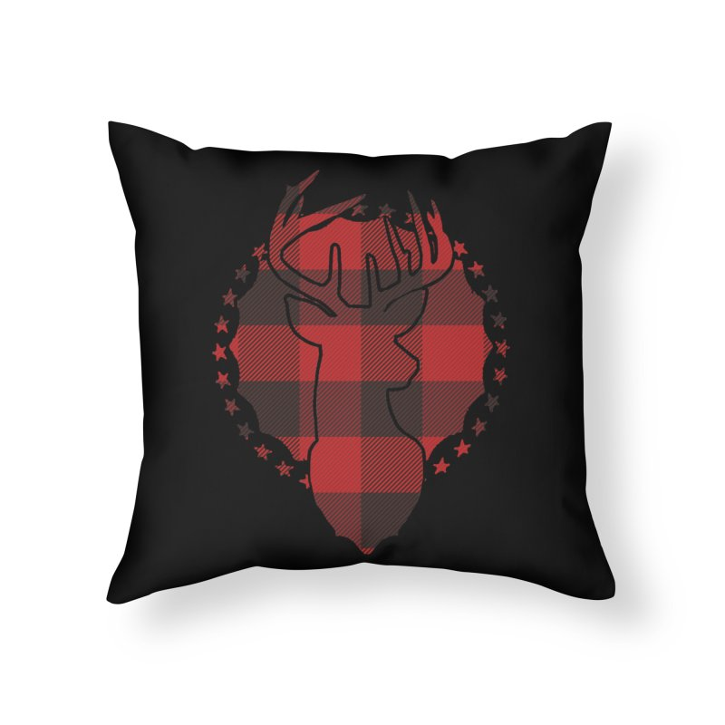 Plaid Deer Home Throw Pillow by EngineHouse13's Artist Shop