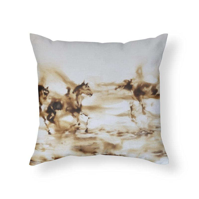 Racing Away - Horses Home Throw Pillow by Equity International - Arts & Culture's Artist Sho
