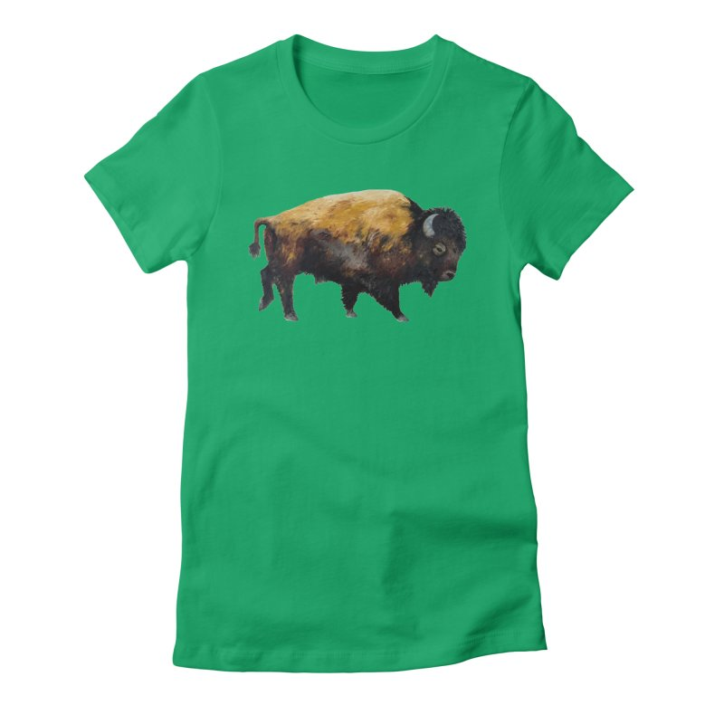 Lone Bison Women's T-Shirt by Etch's Sketches