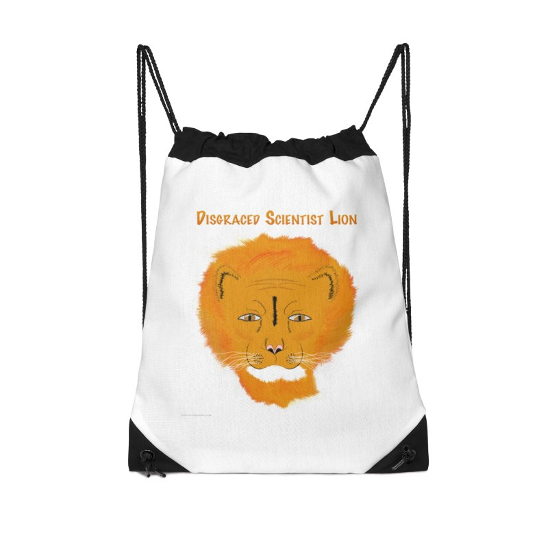 Disgraced Scientist Lion Accessories Drawstring Bag Bag by Every Drop's An Idea's Artist Shop