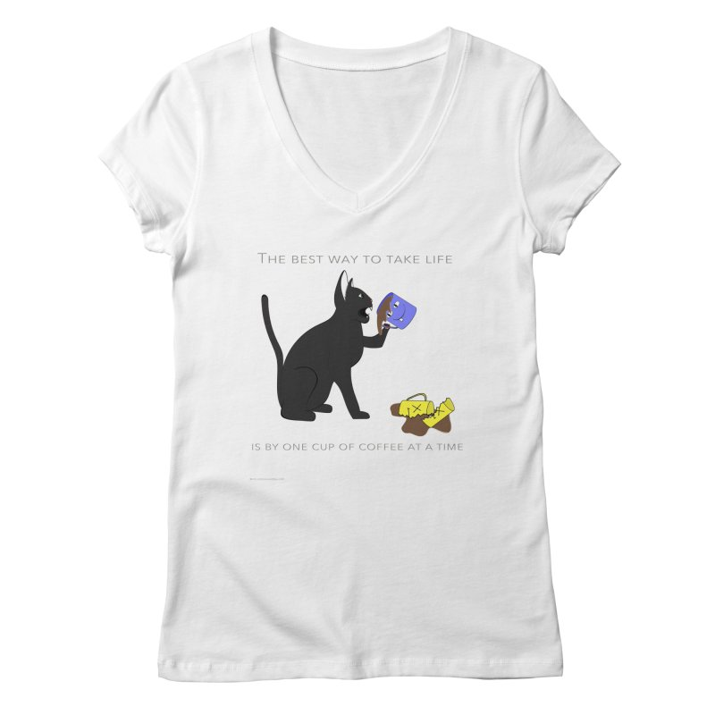 One Cup At A Time Women's Regular V-Neck by Every Drop's An Idea's Artist Shop