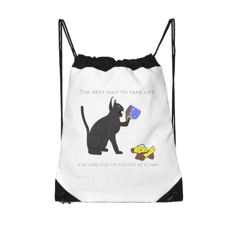 One Cup At A Time Accessories Drawstring Bag Bag by Every Drop's An Idea's Artist Shop